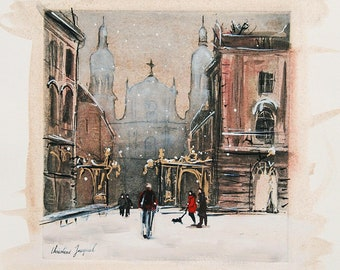 Original painting of a French urban landscape under the snow, painting of Place Stanislas, interior decoration, birthday gift