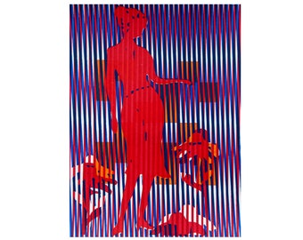 Original screenprint, vertical blue and magenta lines, woman in pink dress, gift for her, home decor, handmade art