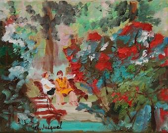 Original oil painting in a public garden, flowers garden, red flowers, Park and garden in Nancy, France