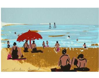 Original painting, original serigraphy, seaside landscape, red parasol, bathers, seaside holidays in France, interior decoration