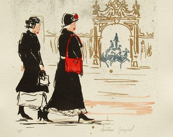 Original lithograph of 2 women Place Stanislas France, contemporary lithograph, modern lithography, lithography of a French city