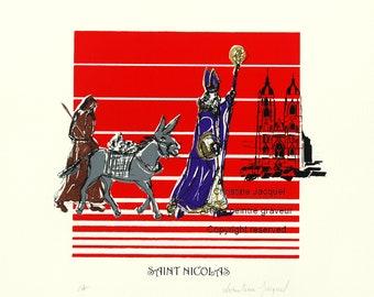 Saint-Nicolas, the donkey and the whipper father walking towards the basilica of Saint-Nicolas de Port, original silkscreen
