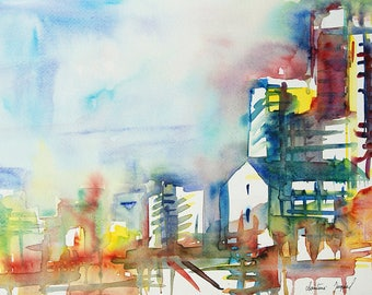 Original watercolor painting of a city with buildings, very colorful watercolor, orange and red yellow blue, decoration corridor, Christmas