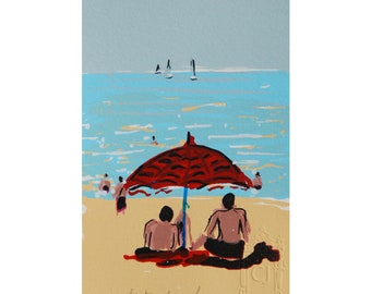 Seaside landscape, vacation under a red umbrella, painting, original serigraphy of a turquoise seaside, wall decoration, wall art