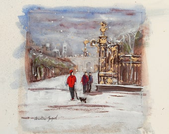 Original watercolor of a city, original mixed media place de la Carrière in Nancy in France, decorative art, original painting