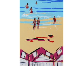 Beach cabin in France, original serigraphy, seaside painting, beach, sunbathers, holidays at the sea in France, interior decoration