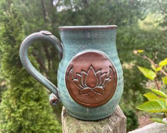 crescent moon lotus mug, handmade, pottery mug, boho, yoga, hippie, gift, 16oz