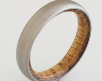 titanium Whiskey Barrel ring // wood ring // mens wood ring // wood wedding band // mens wedding ring // her him ring