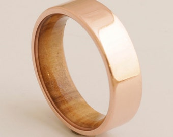 Copper Wedding Band // Copper Wood Ring // Olive Ring // Man Ring // mens wood wedding band