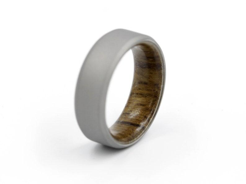 Stonewashed Matte Finish Titanium Titanium and Teak wood lined Men/'s Ring With Chamfer Waterproof Wooden Wedding Band