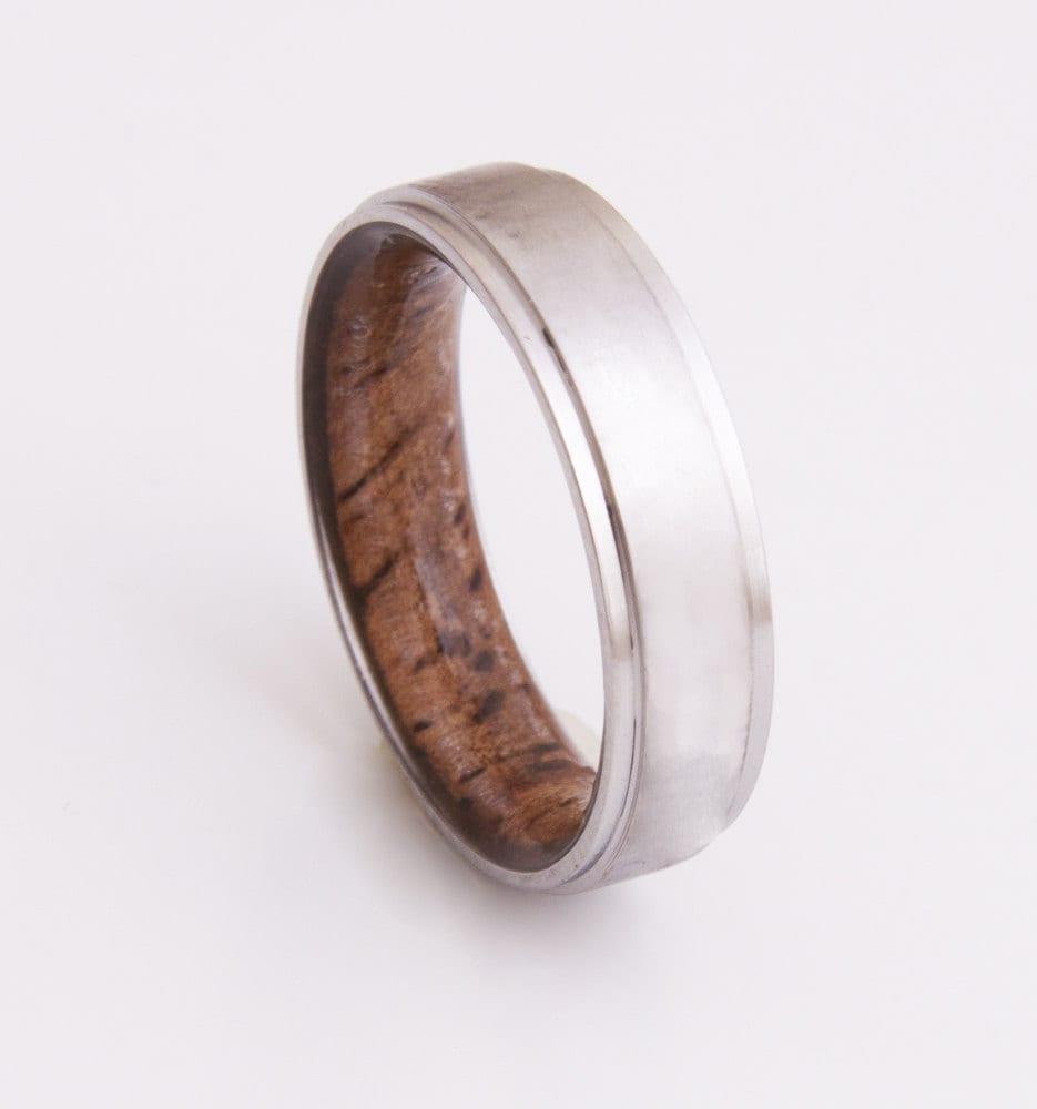 Titanium And Koa Ring Mens Wood Rings Wood Wedding