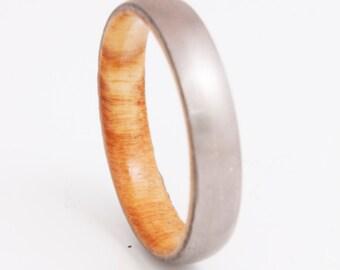 titanium olive ring // wood ring // mens wood ring // wood wedding band // mens wedding ring // her him ring