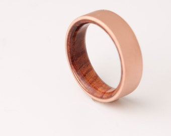 Copper Wedding Band // Copper Wood Ring // Cocobolo Ring // Man Ring // mens wood wedding band