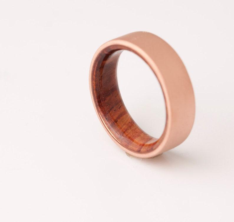 b670fde07d73a Copper Wedding Band - Copper Wood Ring - Cocobolo Ring - Man Ring - mens  wood wedding band