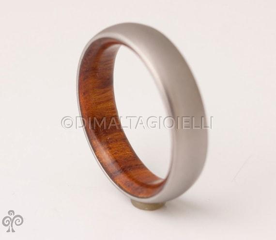 Titanium and iron wood  Mens Wood Rings wood Wedding Band Men/'s wedding Band  flat edge