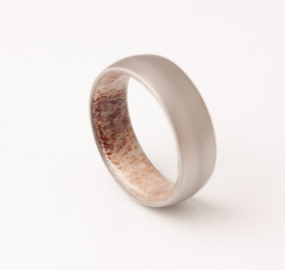 d24d90e2d5a2f Antler ring titanium antler ring Antler Wedding Band antler man woman ring