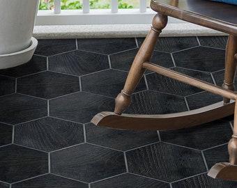FUNLIFE | Vintage Hexagon Tile Floor Stickers, Black Wood, Peel and Stick, Floor Tile Decals for Bathroom, Farmhouse Decoration