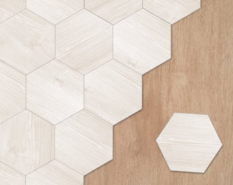 FUNLIFE   Nordic Hexagon Tile Floor Stickers, Peel and Stick, Tile Decals for Bathroom, Minimalism