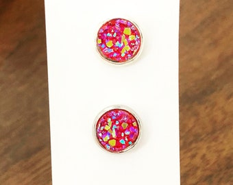 8mm Silver and Redish Pink Faux Druzy Studs