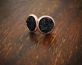 6mm Rose Gold and Sparkly Black Faux Druzy Studs