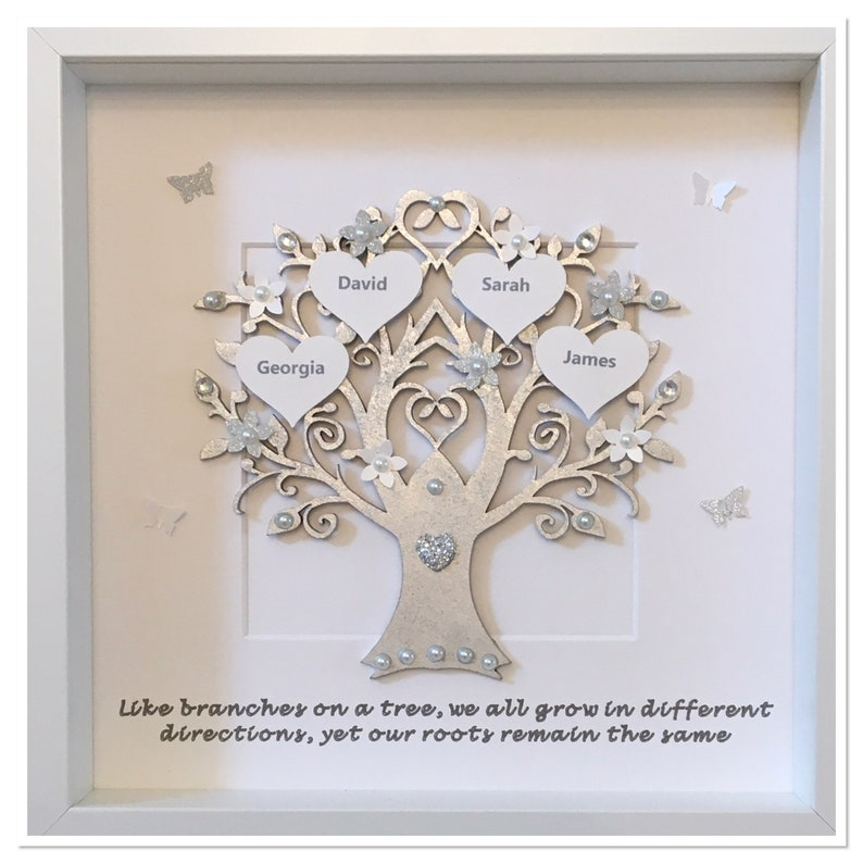 personalised silver quote like branches on a tree family tree
