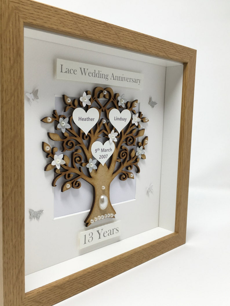 2nd 2 Years Cotton Wedding Anniversary Pebble art picture 2 anniversary Married Couple Husband Wife Gift Family Frame Personalised gift