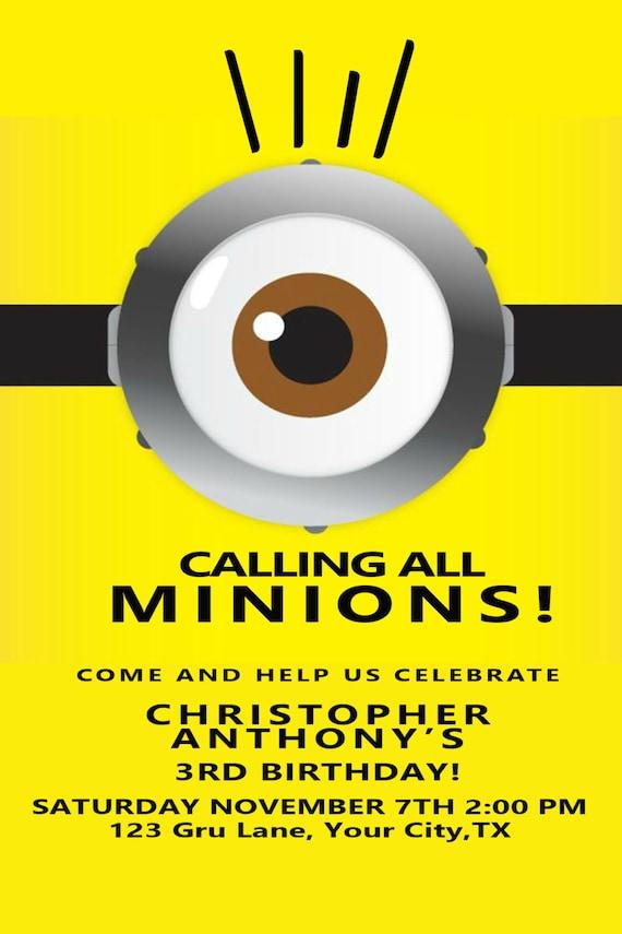 Minions Birthday Party Invitation Etsy