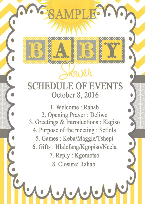 Schedule Of Event For Baby Shower Etsy