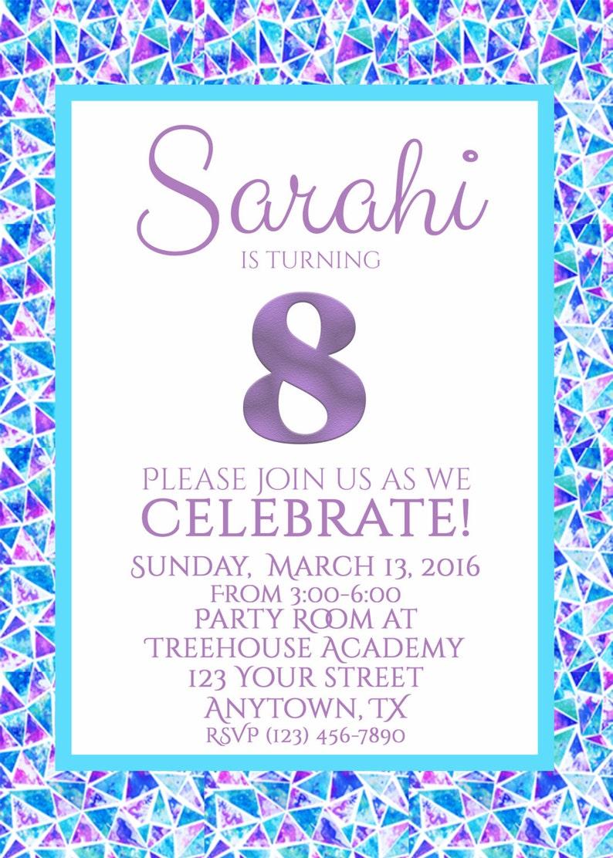 Turning 8 Birthday Invitation