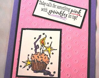 Pink Birthday Cupcake Greeting Card