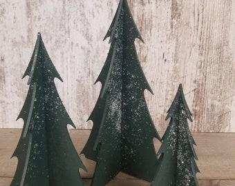 Medium Wood Christmas Trees, Set of 3 Wood Trees, 3D Wood Trees, Free-Standing Christmas Tree Set, Christmas Village Trees, Quick Ship
