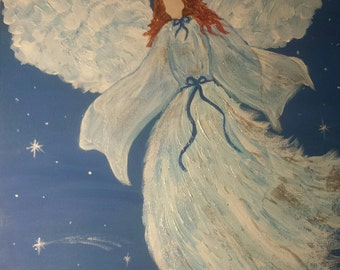 Angel on Canvas Painting - White/Blue/Silver - Angel Wings - Sky with Stars - Red Hair