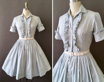 5e1a7117b39 50s Ruffle My Stripes - 1950s Vintage White and Blue Dress - Vertical  Striped Fit and Flare Cotton Dress w Front and Back Ruffles - SunDress