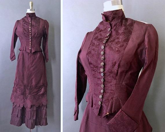 1889 Victorian Wedding Dress - 1800s Antique Deep… - image 1