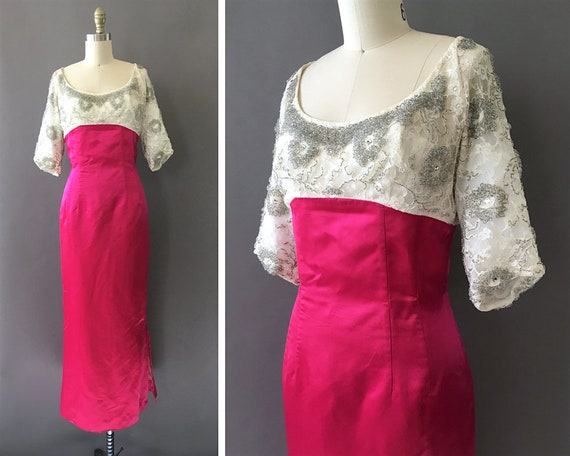 Vintage 1960s Fuchsia Pink Formal Party Dress