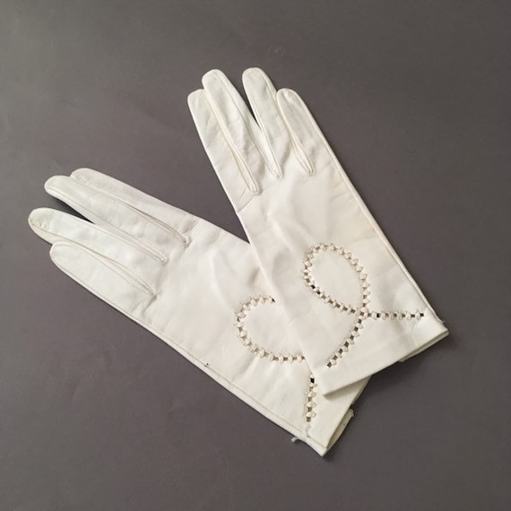 50s Deadstock Leather Gloves - 1950s Vintage White