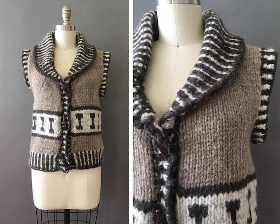 Vintage Knit Sweater Vest - Hand Knit Vintage Slee