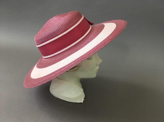Vintage Double Roses Hat - Wide Rim Pink Wine Str… - image 5