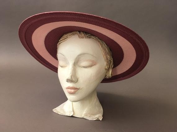 Vintage Double Roses Hat - Wide Rim Pink Wine Str… - image 2