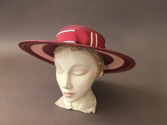 Vintage Double Roses Hat - Wide Rim Pink Wine Str… - image 1