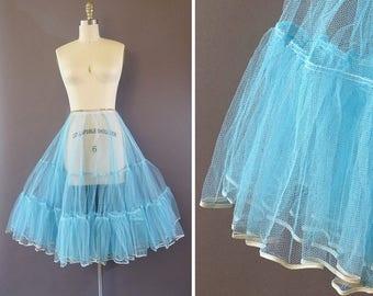 50s Dancing Blues Crinoline - 1950s Vintage Blue Petticoat - Tiered Tulle Under Skirt - Full Light Crinoline w Elastic Waist by Perlcrest