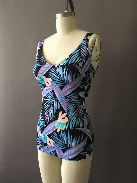 70s Neon Jungle Bathing Suit - 1970s Floral Vinta… - image 3