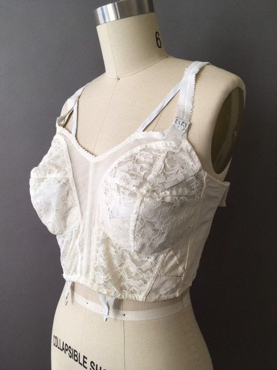 50s Lace Lady Bra - 1950s Vintage White Lace Bra C