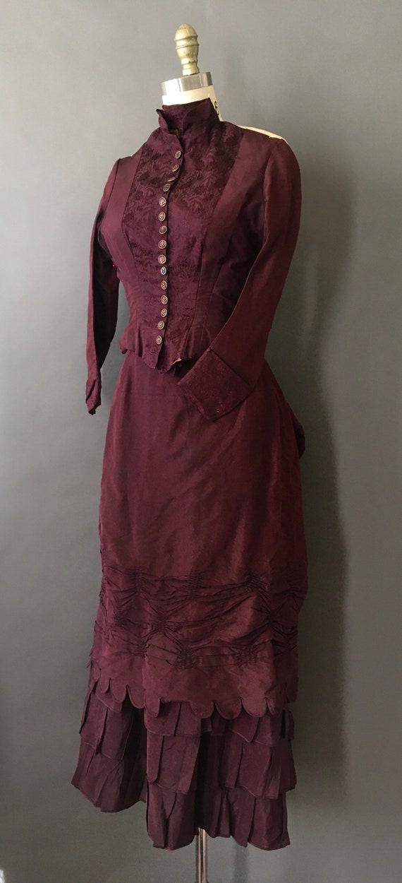1889 Victorian Wedding Dress - 1800s Antique Deep… - image 3