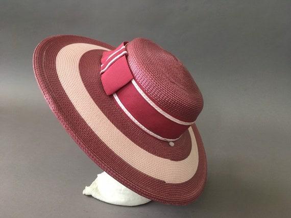 Vintage Double Roses Hat - Wide Rim Pink Wine Str… - image 7