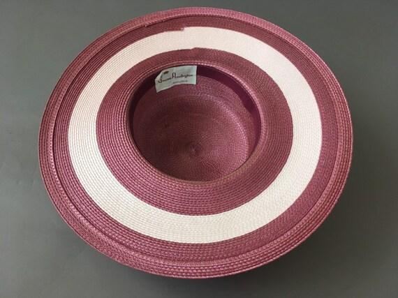 Vintage Double Roses Hat - Wide Rim Pink Wine Str… - image 8
