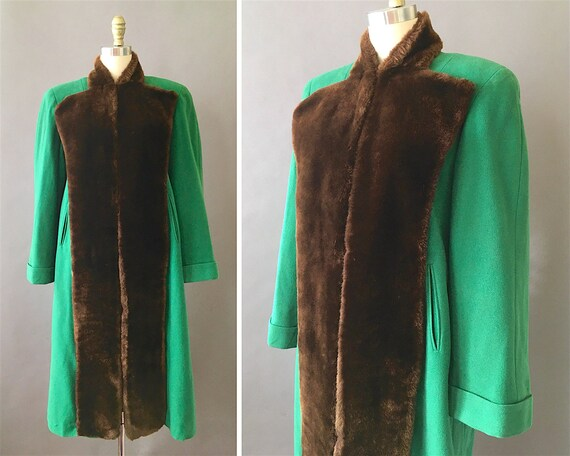40s Green Emerald Coat- 1940s Vintage Green Coat C