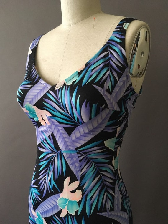 70s Neon Jungle Bathing Suit - 1970s Floral Vinta… - image 7