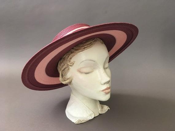 Vintage Double Roses Hat - Wide Rim Pink Wine Str… - image 4