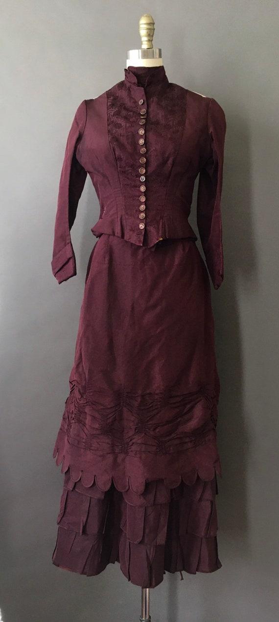 1889 Victorian Wedding Dress - 1800s Antique Deep… - image 2
